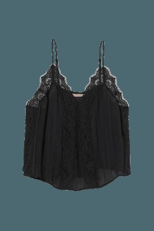 H&M+ Lace-trimmed Camisole Top - Black - Ladies | H&M US