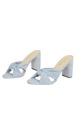 Blue High Heel Sandals - Faux Suede Sandals - Knotted Sandals - Lulus
