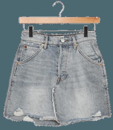 Free People Brea - Light Wash Mini Skirt - Distressed Skirt - Lulus