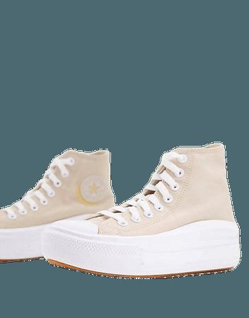 Converse Chuck Taylor All Star Move Hi Mono Lights platform sneakers in farro/white | ASOS