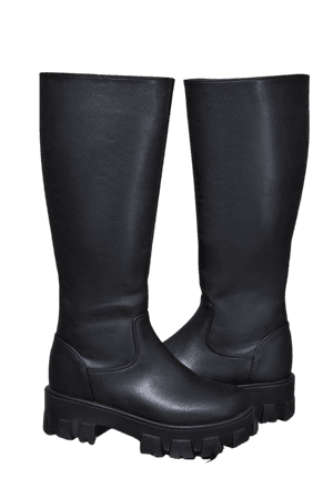 Black PU Cleated Sole Chunky Wellies - Boots - Shoes   PrettyLittleThing USA