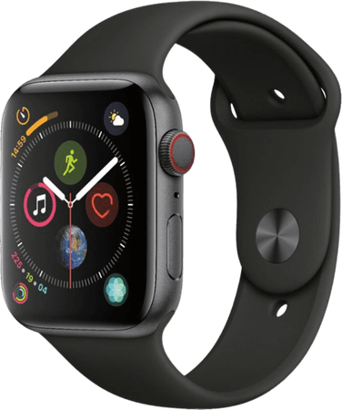Apple Apple Watch Series 4 (GPS + Cellular) 44mm Space Gray Aluminum Case with Black Sport Band Space Gray Aluminum MTUW2LL/A - Best Buy