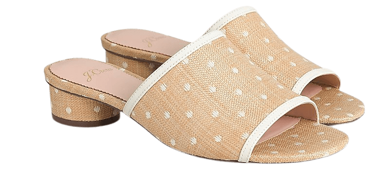 J.Crew: Raffia Slides With Rounded Heel For Women