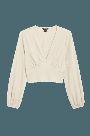 Deep v-neck blouse - Beige - Shirts & Blouses - Monki WW