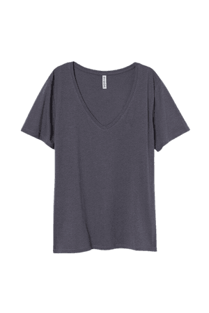 V-neck T-shirt - Gray