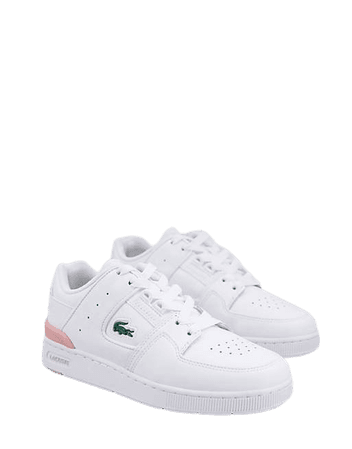Lacoste Court Cage leather sneakers in white and pink | ASOS