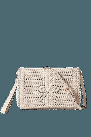 Neeson Woven Leather Shoulder Bag - White