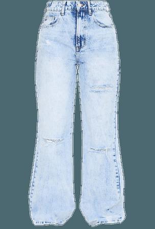 Ice Blue Wash Distressed Hem Wide Leg Jeans | PrettyLittleThing USA
