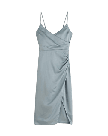 Women's Satin Ruched Wrap Midi Dress | Women's New Arrivals | Abercrombie.com