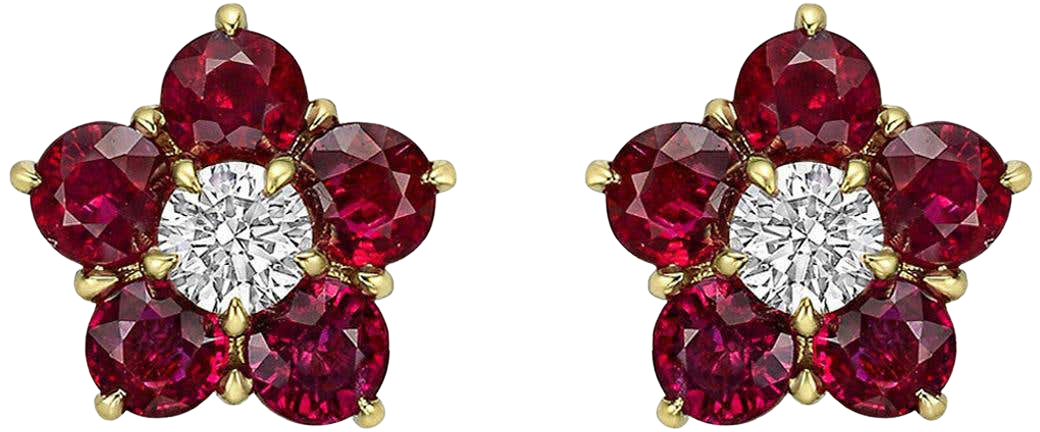 """Ruby and Diamond """"Astra"""" Star Cluster Earrings"""