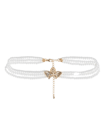 ASOS DESIGN necklace in pearl with cherub in gold tone | ASOS