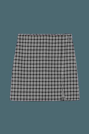 Short Slit-hem Skirt - Black/white checked - Ladies | H&M US