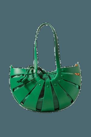 The Shell Medium Leather Shoulder Bag - Green