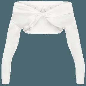 White Bardot Twist Front Crop Top | Tops | PrettyLittleThing USA