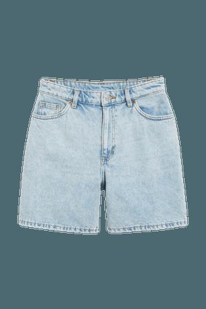 High waist denim shorts - Light blue - Denim shorts - Monki WW
