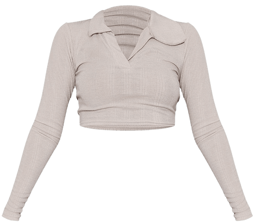 Stone Soft Rib Collar Long Sleeve Crop Top   PrettyLittleThing USA