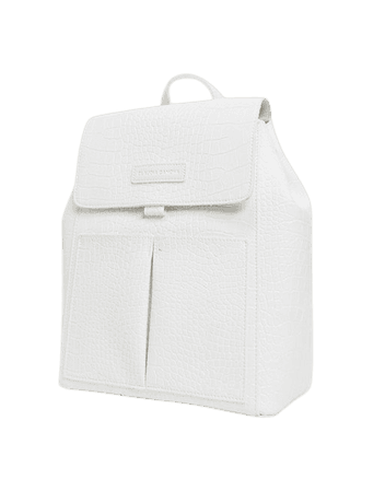 Claudia Canova double pocket backpack in white croc | ASOS