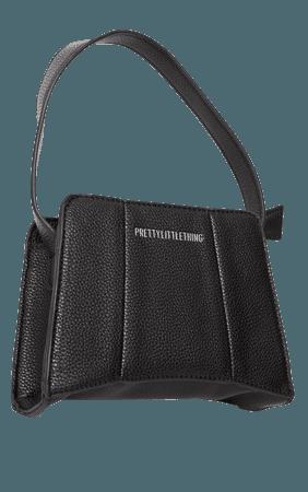 PRETTYLITTLETHING Black Triangular Shoulder Bag | PrettyLittleThing USA