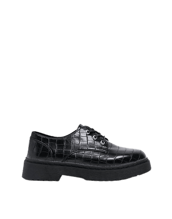 New Look chunky lace up flat shoe in black croc | ASOS