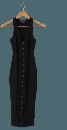 Black Midi Dress - Sleeveless Midi Dress - Ribbed Knit Dress - Lulus