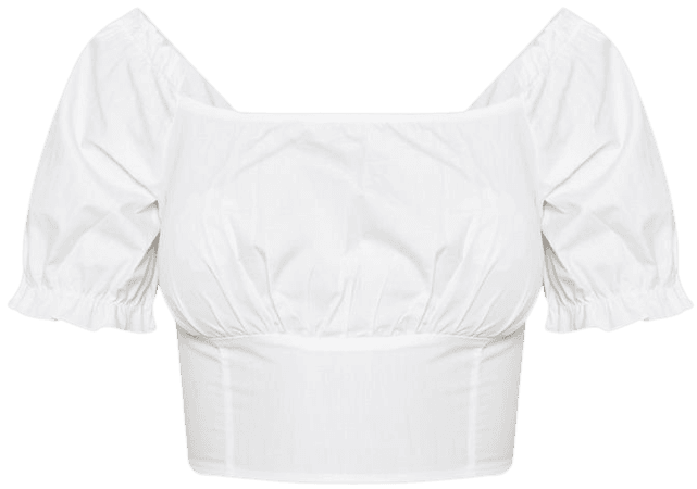 White Bardot Puff Sleeve Ruched Crop Top   PrettyLittleThing