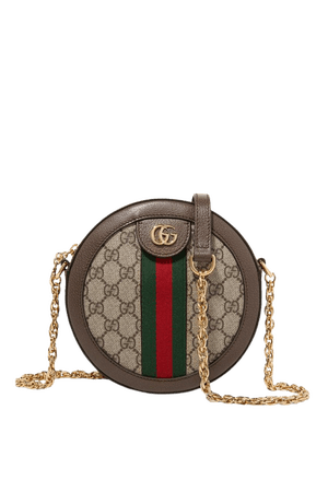 Brown Ophidia mini textured leather-trimmed printed coated-canvas shoulder bag   Gucci   NET-A-PORTER