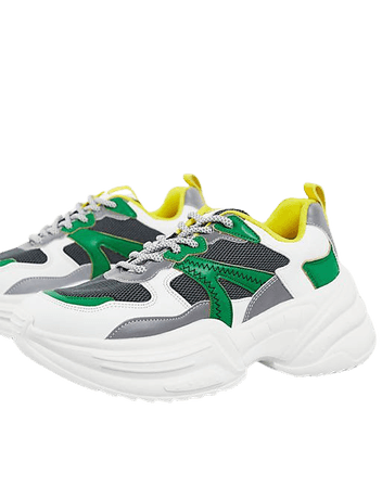 Topshop City chunky sneakers in green | ASOS