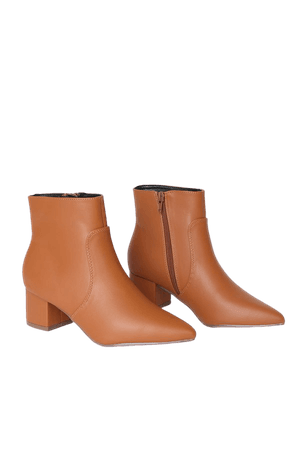Chic Tan Boots - Vegan Leather Boots - Pointed Toe Ankle Booties