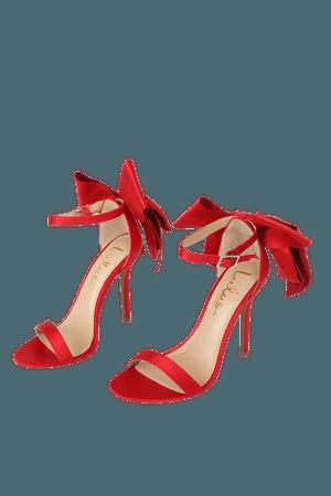 Red Satin Heels - Ankle Strap High Heels - High Heel Sandals - Lulus