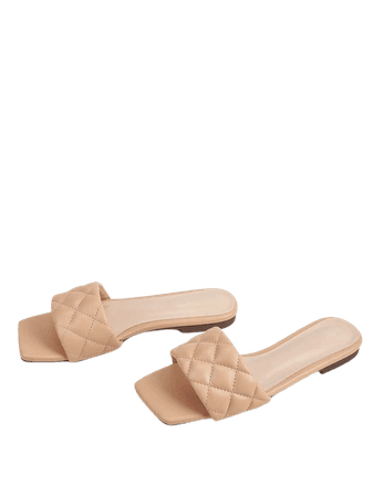 Open Toe Quilted Sliders | SHEIN USA