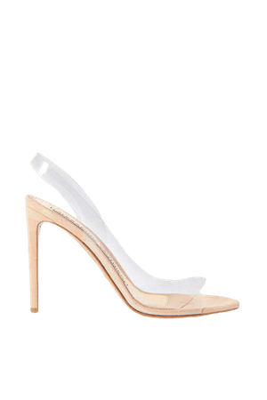 Amber Ghost Suede And Pvc Sandals - Neutral