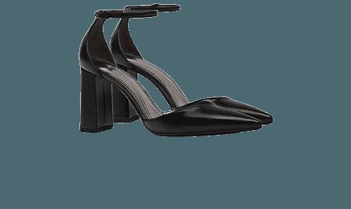 Bershka pointed toe heels with ankle strap in black | ASOS