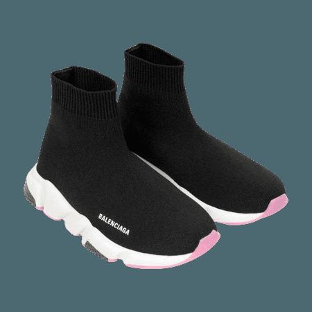 Balenciaga Kids Trainers - Black & White Logo Speed Trainers - Girls Designer Clothes