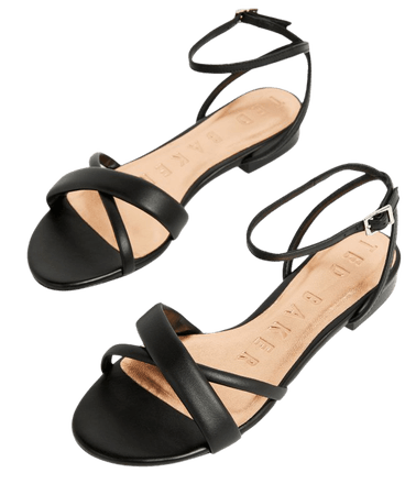Leather Flat Strappy Sandal - Black | Sandals | Ted Baker