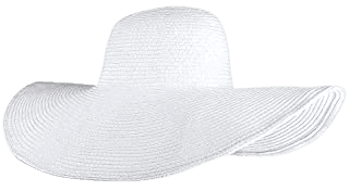 Lovful Fashion Flower Lace Ribbon Wide Brim Caps Summer Beach Sun Protective Hat Straw Hats for Women, White at Amazon Women's Clothing store