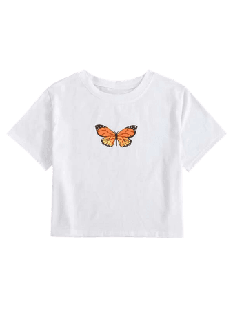 Butterfly Print Round Neck Tee | SHEIN USA white