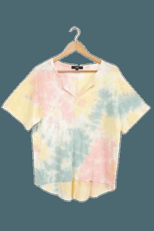 Pink Multi Tie-Dye Tee - Oversized Tee - Short Sleeve Top - Lulus