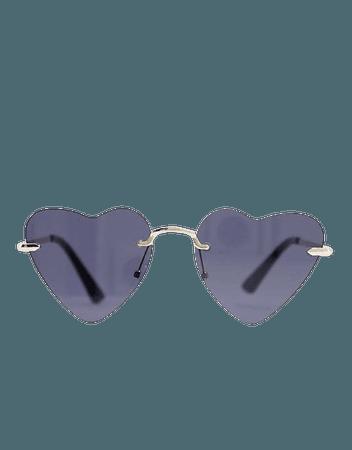 Madein. thin frame heart sunglasses | ASOS