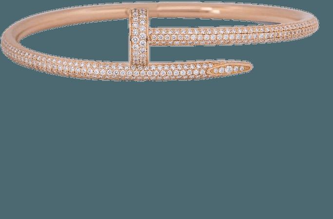 Cartier Rose Gold Full Pave Diamond Juste Un Clou Bracelet