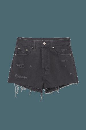 Slim High Denim Shorts - Black