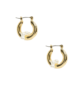 Whistles pearl double hoop earrings in gold | ASOS