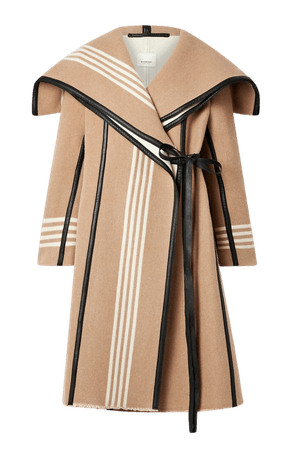 Camel Layered cape-effect leather-trimmed striped wool coat | Burberry | NET-A-PORTER