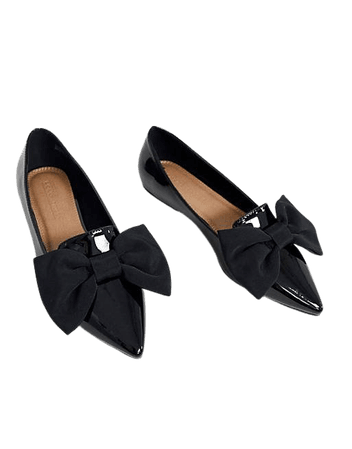 ASOS DESIGN Wide Fit Lake bow pointed ballet flats in black   ASOS