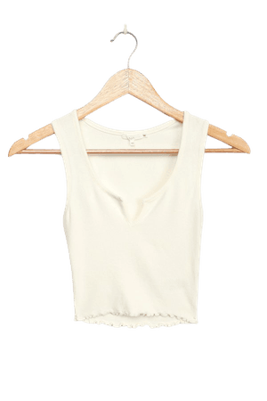 NIA Essential Notched Tank - White Ribbed Tank Top - Crop Top