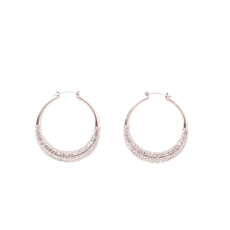 Rose gold paved sparkle hoop earrings | River Island