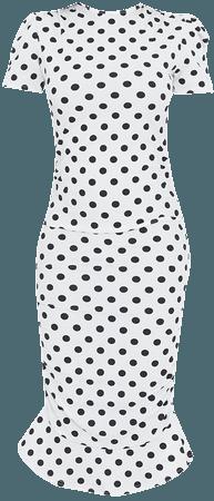 White Polka Dot Puff Sleeve Frill Hem Midi Dress   PrettyLittleThing USA