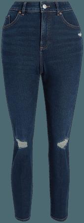 Super High Waisted Dark Wash Ripped Curvy Slim Jeans | Express