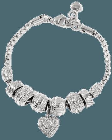 "Shop LC - Pink Crystal Valentine Heart Charm Bracelet for Women Stainless Steel Adjustable Link 7.5"" - Walmart.com - Walmart.com"