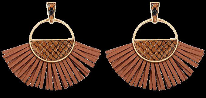 Amazon.com: RIAH FASHION Bohemian Faux Leather Drop Statement Earrings - Boho Statement Dangles Fan Fringe Tassel, Filigree Feather, Half Moon Hoop (Fan Fringe Tassel - Snake Print Brown): Clothing