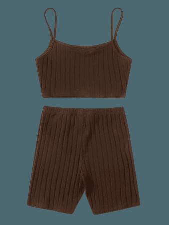 Solid Rib-knit Cami Top & Biker Shorts Set | SHEIN USA Chocolate Brown